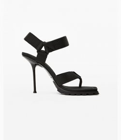 Julie Lug Sport Thong Black High Hill Webbing Sandal