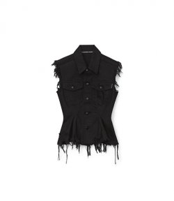 Sculpted Flare Black Vest Jacket