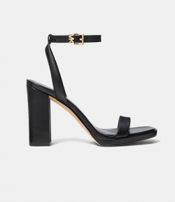 Angela Ankle Strap Black Leather Sandal