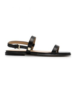 Fanning Black Leather Sandal