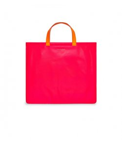 Super Fluo Pink & Yellow Leather Tote Bag