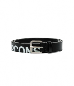 Huge Logo Black Leather Belt
