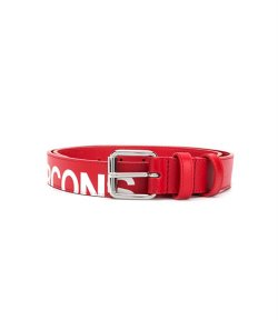 Huge Logo Red Leather Belt
