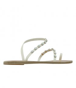 ANCIENT GREEK SANDALS OFF WHITE LEATH PEARLS EMBELISHED SANDALS