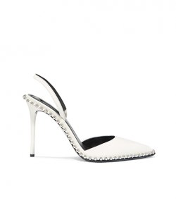 ALEXANDER WANG WHITE SLING BACK SILVER METALIC STUDS