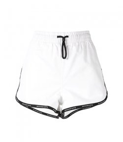 ALEXANDER WANG TRACK SHORT LOGO BAND OPTIC WHITE