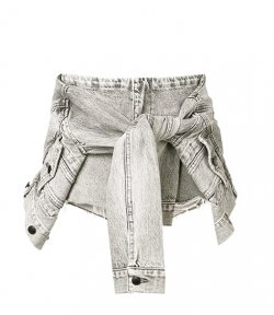 ALEXANDER WANG TIE JACKET GREY DENIM SHORTS