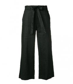 DKNY BLACK PULL ON LINEN CROP PANTS