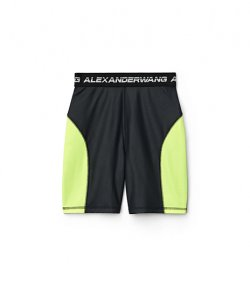 ALEXANDER WANG WASH & GO SATIN JERSEY BIKER SHORTS YELLOW NEON