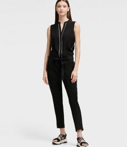 DKNY V-NECK JUMPSUIT WITH PIPING