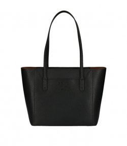 DKNY BLACK LEATHER NOHO-EW TOTE-PEBBLE