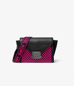MICHAEL MICHAEL KORS XSBELT BAG X BODY BLACK/NEON PINK