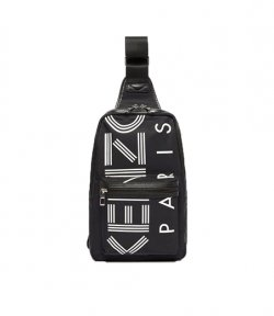 KENZO BLACK LOGO ONE SHOULDER BACKPACK