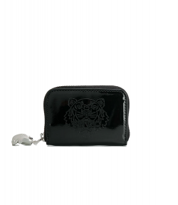 KENZO BLACK PATENT ZIP COIN PURSE