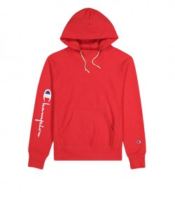 CHAMPION MEN RED HOODED SWEATSHIRT