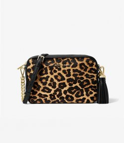 MICHAEL MICHAEL KORS JET SET MEDIUM LEOPARD CALF LEATHER XBODY