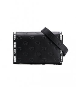 KENZO BLACK LEATHER EYE BELT BAG