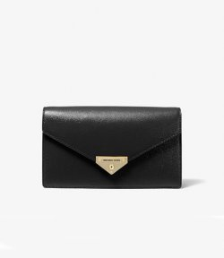 MICHAEL MICHAEL KORS BLACK MEDIUM ENVELOPE CLUTCH