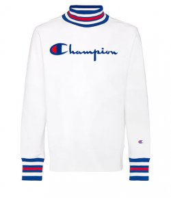 CHAMPION MEN HIGH NECK WHITE SWEATSHIRT