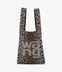 ALEXANDER WANG WANGLOGO MINI SHOPPER CHEETAH RHINESTONE CHAINMESH