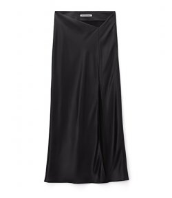 ALEXANDER WANG WET SHINE WASH &CO MID  BLACK SKIRT W/DIPPED WAISTBAND