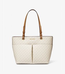 MICHAEL MICHAEL KORS MEDIUM TZ POCKET TOTE VANILLA/ACORN