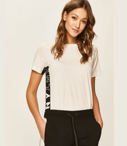 DKNY WHITE ACTIVE COLOR BLOCK FLIP LOGO TEE