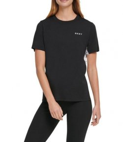 DKNY BLACK ACTIVE COLOR BLOCK FLIP LOGO TEE
