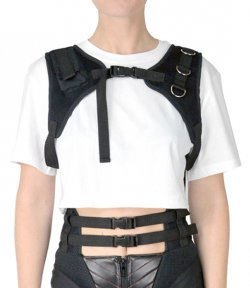 CROP T-SHIRT WITH DETACHABLE CHEST HARNESS WHITE
