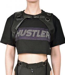 NAMILIA CROP T-SHIRT WITH DETACHABLE CHEST HARNESS