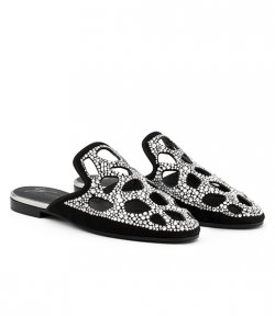 GIUSEPPE ZANOTTI BLACK SUEDE FLAT SLIPPER WITH CRYSTALS