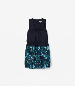 KENZO NAVY BLUE SLEEVELESS DRESS MIXED FA