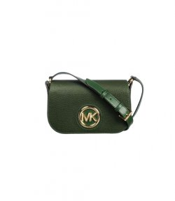 MICHAEL KORS GREEN SM FLAP MSGR LEATHER